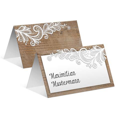 Hochzeit Tischkarten by Tischkarten Hochzeit Rustikal Mit Wei 223 Er Spitze