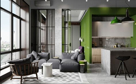 inspired apartment with industrial touches industrial chic apartment with bold green touches digsdigs