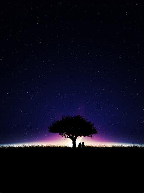 wallpaper couple romantic night stars silhouette hd