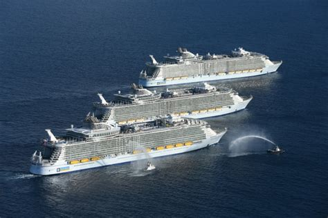 largest cruise ships world s 3 largest cruise ships meet for the first time