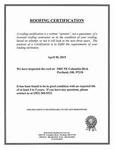 roof certification template roof certification sle real estate roofing