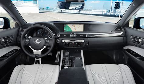white lexus inside lexus gs f interior shot