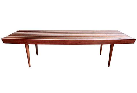mid century slat bench coffee table omero home