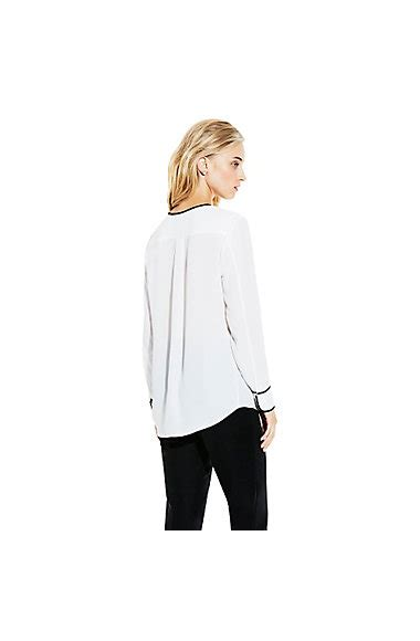 Blouse With Contrast Piping Korz blouse with contrast piping vince camuto