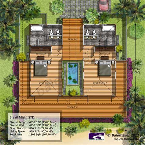 tropical house plans with modern colors decorating