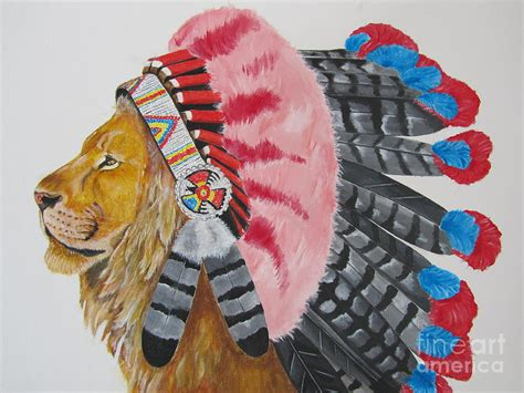 native american lion painting by jeepee aero