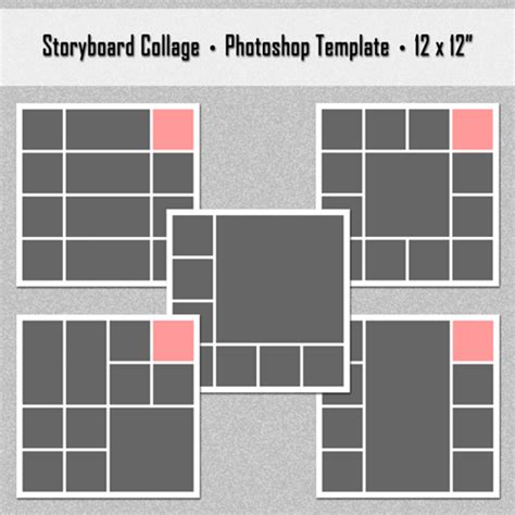 5 photoshop storyboard collage templates set 1 photo