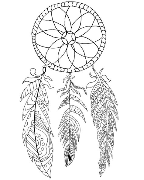 dreamcatcher template wolf catcher coloring page coloring pages