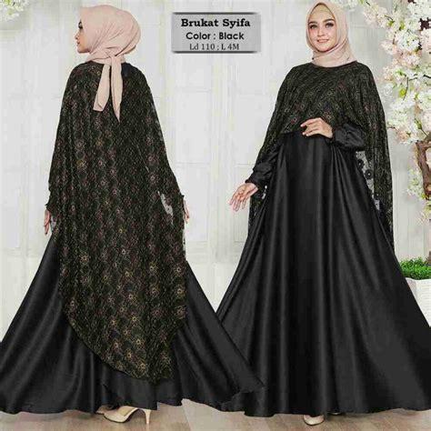 Baju Muslim Pesta Gamis Brukat Brokat Putih Premium gamis pesta model jubah brukat syifa hitam model baju gamis terbaru