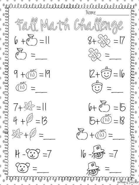 Free Fall Math Worksheets by Primary Junction Fall Freebies