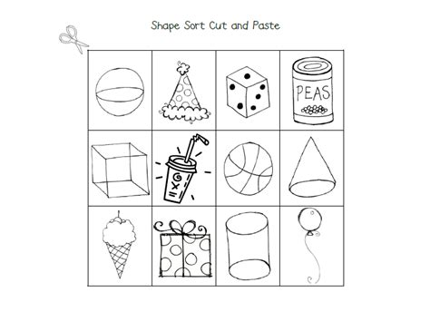 learning with a happy 3 d shapes sort cut and paste