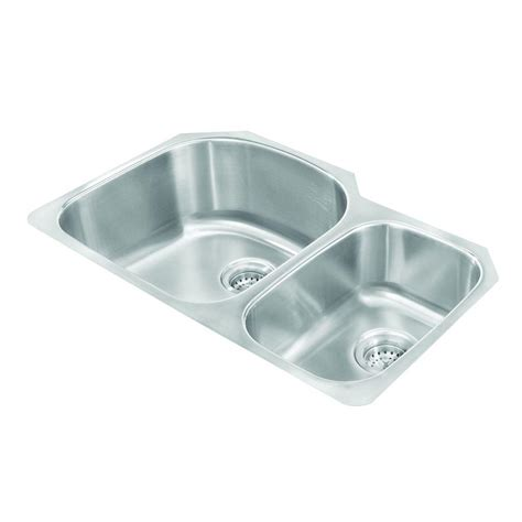 Pegasus Kitchen Sinks Pegasus Undermount Stainless Steel 30 In 2 Basin Kitchen Sink 3121 The Home Depot