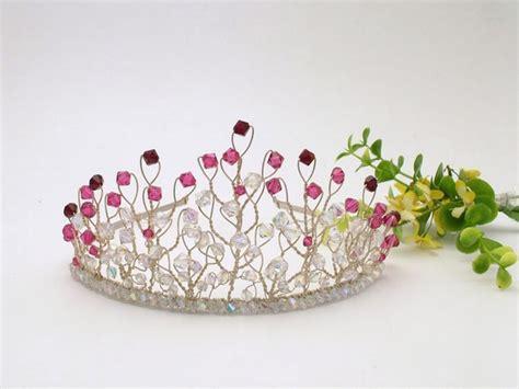 Handmade Tiara - silver wedding tiara with cerise pink and garnet swarovski
