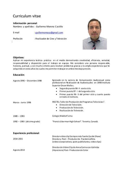 Modelo Curriculum Peru 2015 Curriculum Vitae 2015 Gmc2