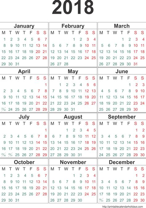 printable year calendar 2018 with holidays calendar 2018 template 12 months page printable 2017