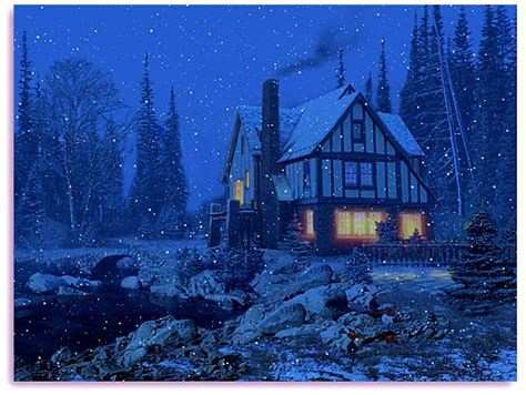 3d snowy cottages screensaver free animated screensaver