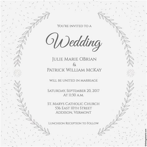layout of a wedding invitation stylized laurels wedding invitation free printable