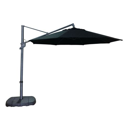 Offset Patio Umbrella Lowes Allen Roth 11 Ft Offset Black Octagon Umbrella With Tilt And Crank Lowe S Canada