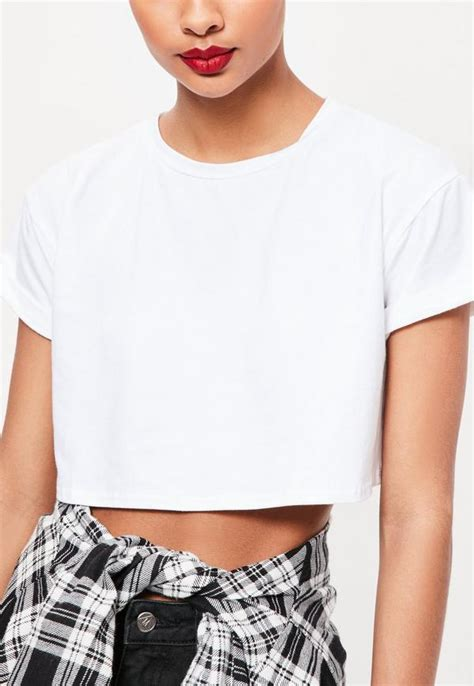 Promo Blouses T Shirts Wanita Murah By Inbox Eys 010 roll sleeve cotton crop top white missguided