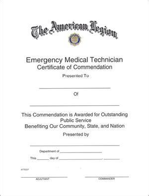 paramedic card template legion emt certificate americanlegionflags
