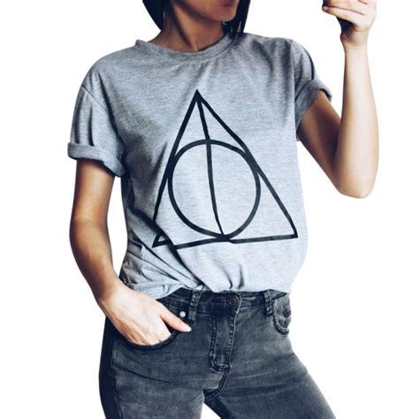 Kaos T Shrit Trendy sleeve clothing trendy t shirts print geometric t shirt s black gray top