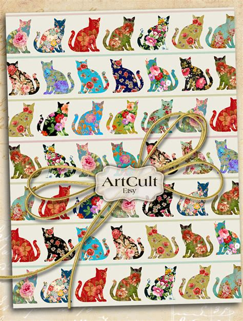 free printable wrapping paper sheets wrapping paper digital download groovy cats printable collage
