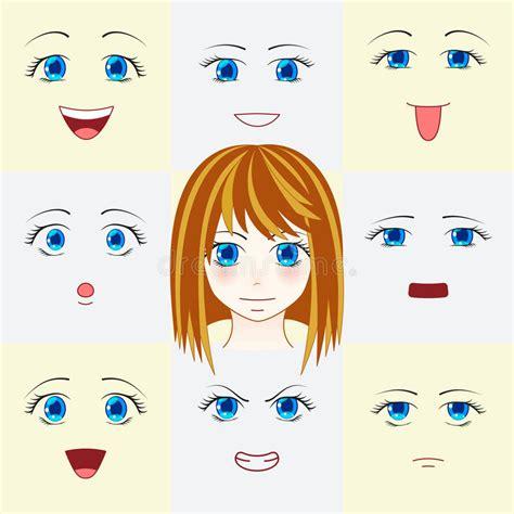 Anime W Stylu by Set Twarze W Stylu śliczni Anime Oczy Usta I R 243 żni
