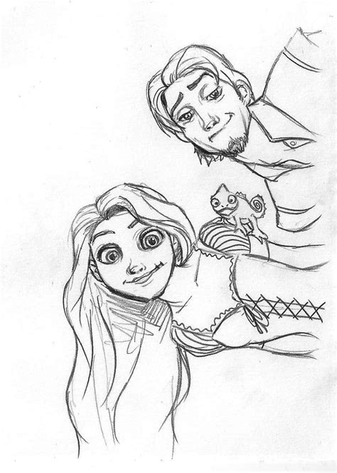rapunzel flynn and pascal by danielfoez on deviantart