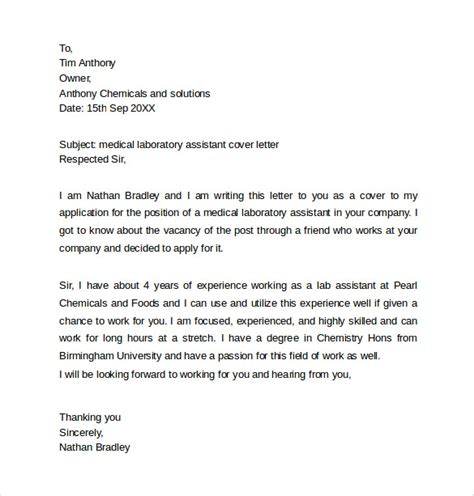 Laboratory Assistant Cover Letter by Cover Letter Templates 9 Free Documents In Word Pdf