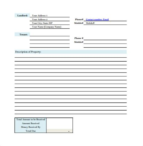 receipt forms templates sle rent receipt form template 7 free documents in pdf