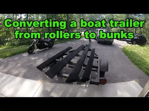 convert boat trailer to rollers boat trailer bunk conversion youtube