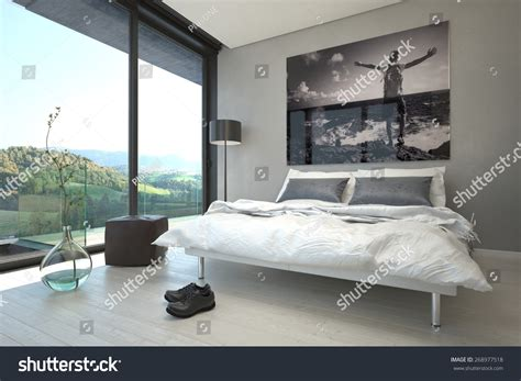 bedroom overlooking 3d design with bay window 3d house relaxing architectural bedroom design decorated vase stock