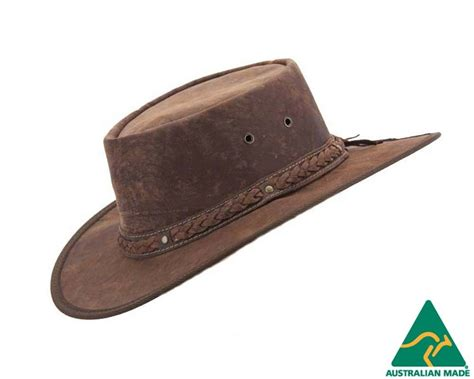 Leather Australia by Barmah Kangaroo Leather Australian Outback Hat Made In