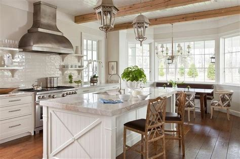 White Beadboard Kitchen Island with Faux Bamboo Counter
