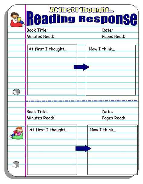 reading response journal worksheet search results