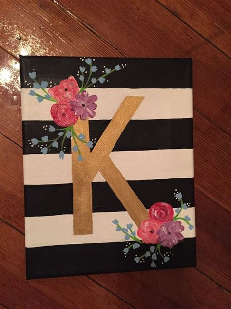 canvas craft projects floral letter canvas by charmingcanvases on etsy addelyn