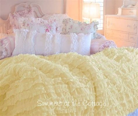 shabby sunny yellow cottage chic ruffled comforter set full queen ruffled comforter