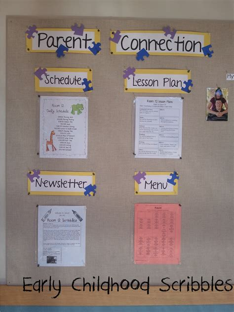early childhood scribbles parent welcome bulletin board