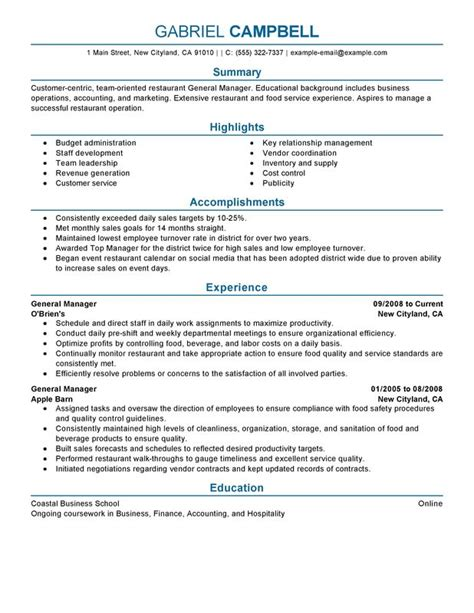 resume sles for food service manager restaurant general manager resume exles free to try