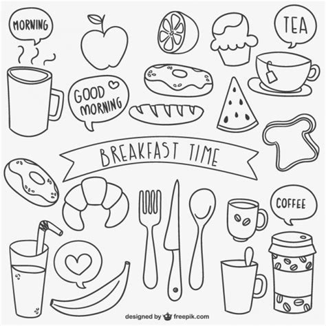doodle food free breakfast time doodles vector free