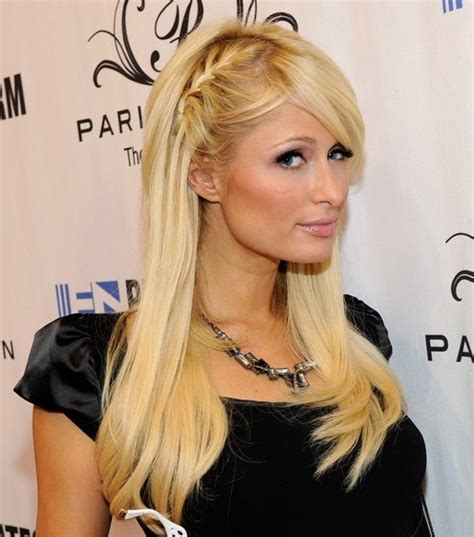 braided hairstyles with side bangs paris hilton cute braided hairsyle with side bangs