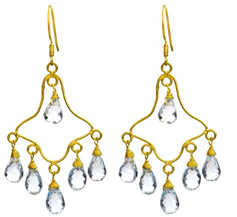 Faceted Blue Topaz Chandelier Earrings Topaz Chandelier Earrings