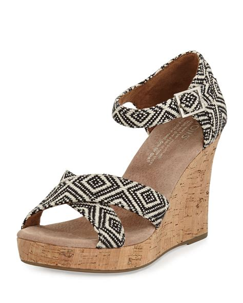 wedges shoes toms woven strappy wedge sandal in black lyst