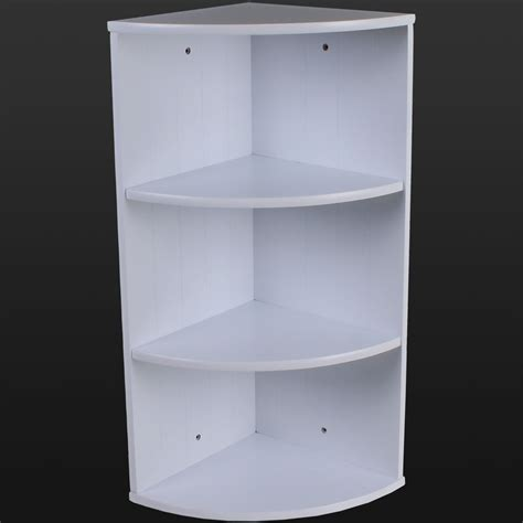 Bath Shower Corner Shelf Wall Bathroom Corner Shelving Storage Unit Wooden Shelves White