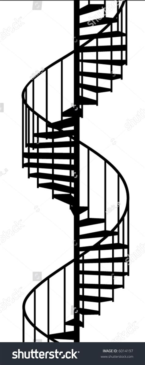 Home Design 3d Upstairs by Service Spiral Stair On White Background Stock Vector