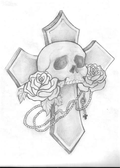 skulls and crosses tattoos cross drawings in pencil www pixshark