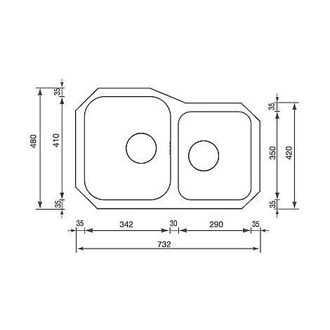 lavello acciaio antigraffio cm cinzia lavello 73 2x48 cm 2 vasca a destra antigraffio