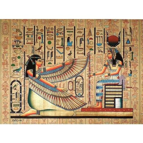 ancient egyptian home decor maat and isis ancient egyptian papyrus painting liked on polyvore featuring home home decor
