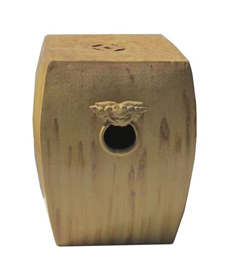 Clay Colored Stool by Yellow Brown Color Ceramic Clay Square Fu Stool Vs895 Ebay