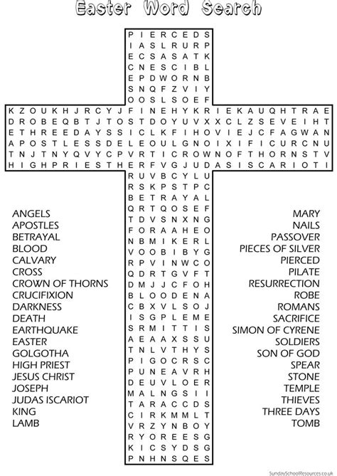 printable christian activity sheets easter word search sunday school activity website has